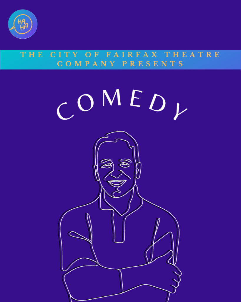 Purple background with Comedy in white text. Sketch of a man smiling