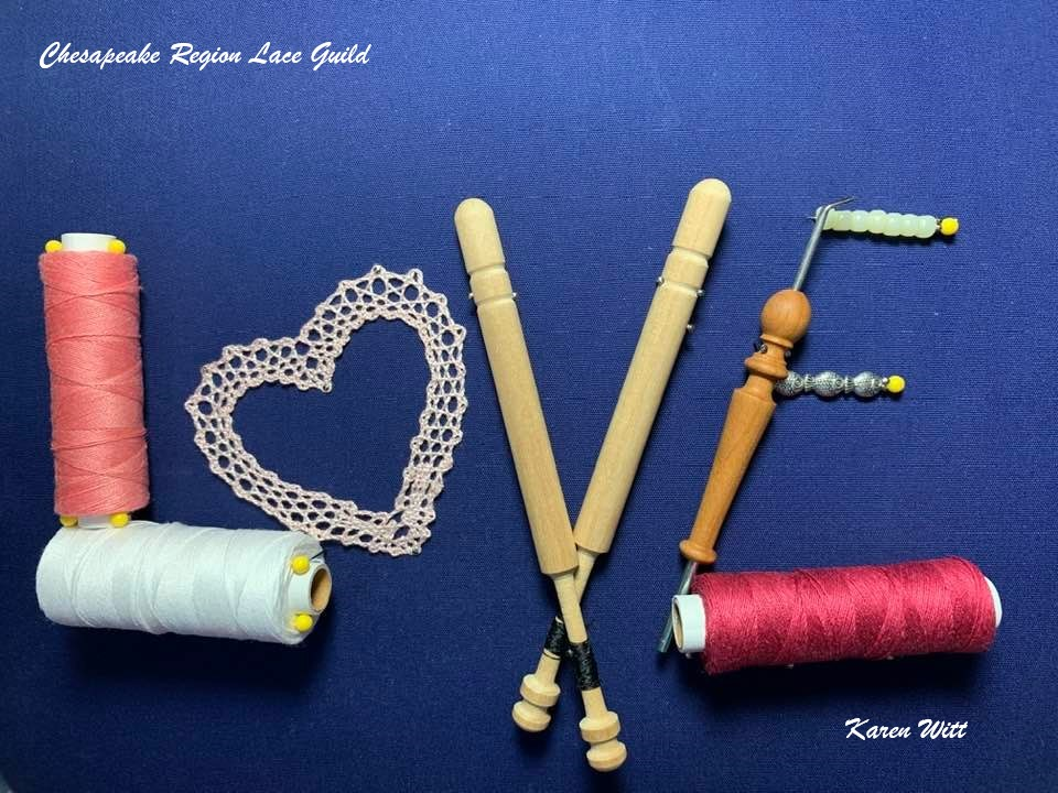 L O V E spelled out in Lace Tools